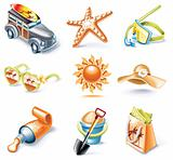 Vector cartoon style icon set. Part 16. Traveling