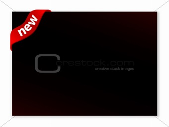 blank dark advertisement billboard with label ribbon