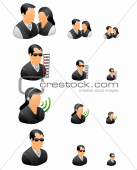 business people icons black theme