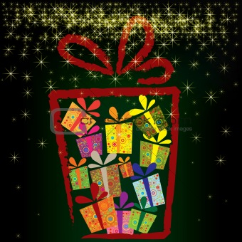 abstract vector christmas background with gift boxes