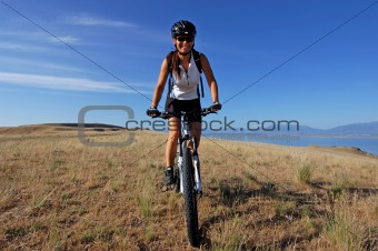 Female mountain biking