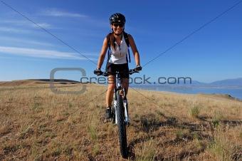 Female mountain biking