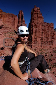 Female rock climber, Utah