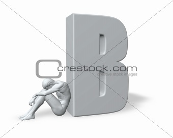 sitting man leans on uppercase letter B
