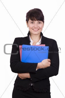 Business woman with folder.