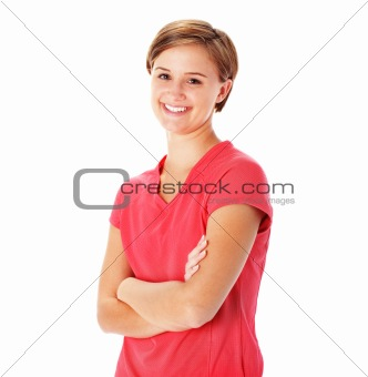 Young Fitness Woman in Red Shirt Isolated on White