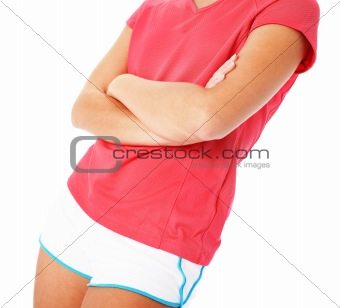 Close Up of Young Fitness Woman in Red Shirt Isolated on White