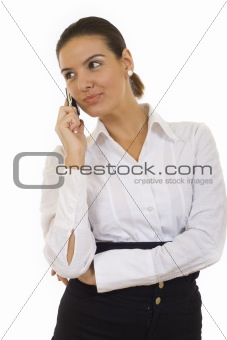 beautiful businesswoman with her phone