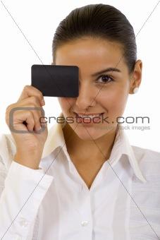 Beautiful  displaying blank business card