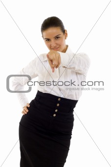 Business woman pointing at camera