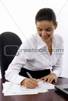 Business Woman signing documents