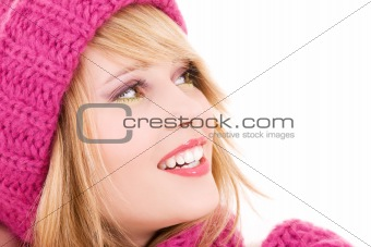 happy teenage girl in hat