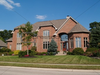 Large Two Story New Brick Home With Turret
