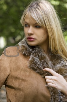 blond girl with jacket