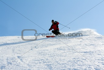 Man in mountain ski