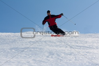 Man in mountain ski