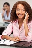 Beautiful African American Mixed Race Girl Talking On Cell Phone
