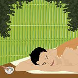 lman having an ayurvedic massage in a bamboo shed