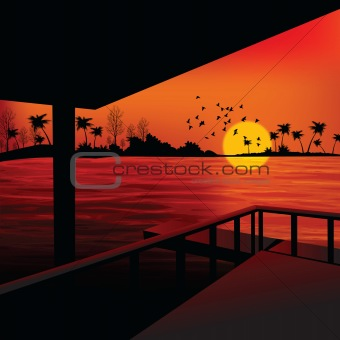 landscape - sunrise view from boathouse, lake side