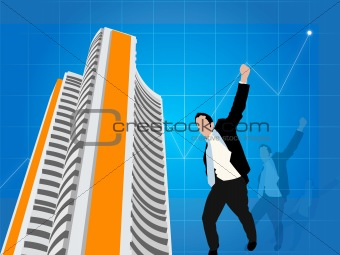 business man expressing victory with stock exchange background