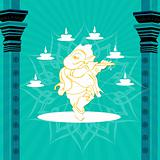 statue of god ganesha with pillars and lamps