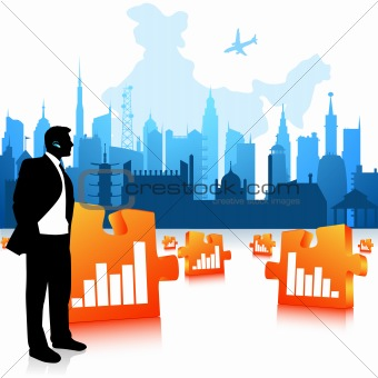 business man communicating, city background, jigsaw graph bars
