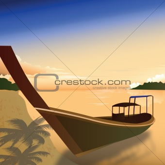 view of boat parked at backwaters, kerala