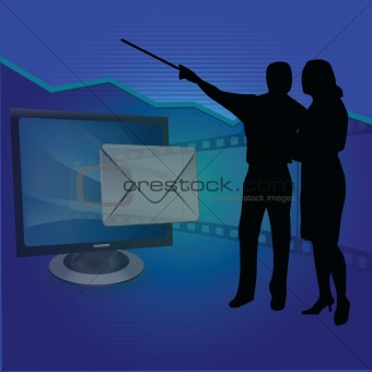 business people with silhouettes of mails and presentation