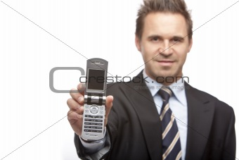 Young Businessman shows mobile phone