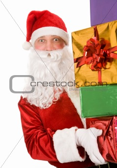 Santa with giftboxes