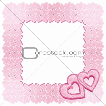 A frame of two pink diamond hearts