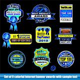 Set of internet certification award banner for Black backgrounds