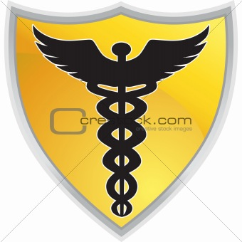 Caduceus Medical Symbol with Shield