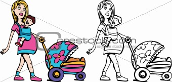 Mom with Baby and Stroller