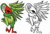 Parrot Cartoon Character Line Art