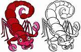 Scorpion Cartoon Character Line Art