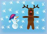 vector snowman and reindeer