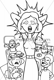 Stressed Mom at Home - black and white