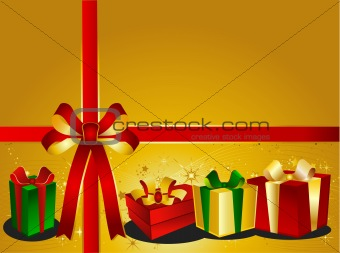 Golden Christmas Backgraound with presents
