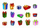 Big Set of colorful prestents - gift boxes