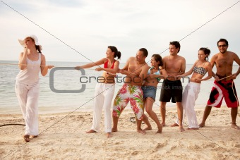 Group pulling a rope