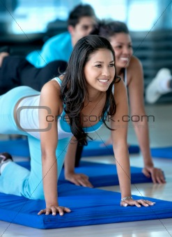 Woman in a stretching class