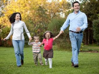 Family running outdoors