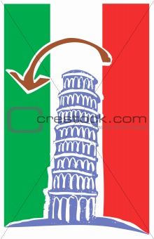 Tower of Pisa and Italian Flag