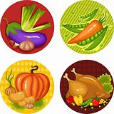 set of a thankgiving icons