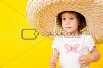 Little baby with big hat