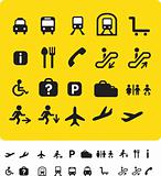 travel icon set on yellow
