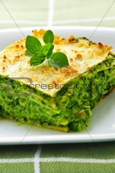 Plate of vegeterian lasagna