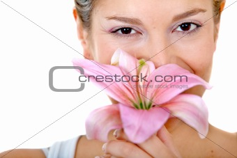 Beautiful woman with a flower