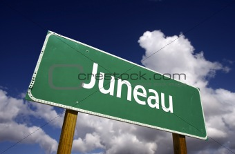 Juneau Road Sign with dramatic blue sky and clouds - U.S. State Capitals Series.